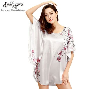 Plus Size Women Nightgown Sleepshirts 2017 Fashion Print Top Sale Faux Silk Bathrobe Female Dressing Gown Home Intimissimi YT07