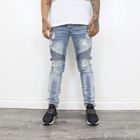 Kayden Distressed Skinny Jeans (Denim Blue)