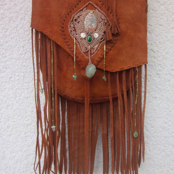 bohemian macrame fringe leather bag