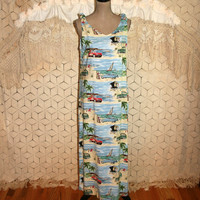 Disney Clothing Women Long Summer Dress Hawaiian Maxi Beach Dress Medium Rayon Shift Sundress Mickey Mouse & Minnie Mouse Womens Clothing
