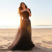 New Arrival Boat Neck Black A-Line Tulle Prom Dress Silver Beaded Sexy Backless Evening Dress Long Fast Shipping Party Dresses