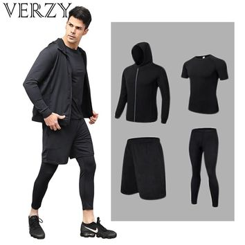 Solid black white 4 pieces running suit S-XXXL plus sportswear for men fitness gym bodysuit running exercise clothing yoga sets