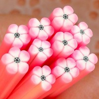 Polymer Clay Cane - Pink and White Flower - for Miniature Food / Dessert / Cake / Ice Cream Sundae Decoration and Nail Art CFW011
