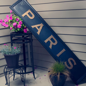 Paris Wooden Sign Hand Painted Old Vintage Wood Sign Wall Art