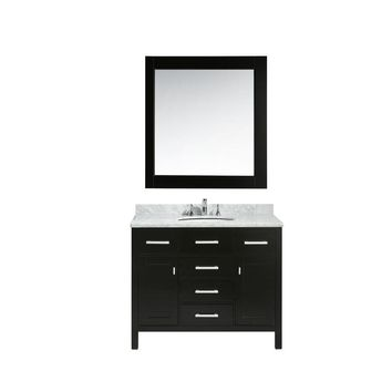 Design Element London 42 in. W x 22 in. D x 35.5 in. H Vanity in Espresso with Marble Vanity Top in Carrara White, Basin and Mirror-DEC076F - The Home Depot