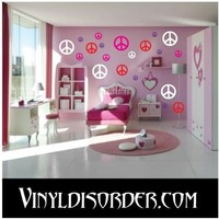 52 Peace Signs Vinyl Wall Decal Stickers Kit