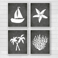 Black & White Art - Tropical Bathroom Art - Tropical Bath Prints - Beachy Wall Art - Saiboat Palm Trees Starfish Coral - Bathroom Decor