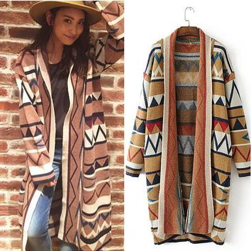 Khaki Geometric Print Casual Cardigan Sweater
