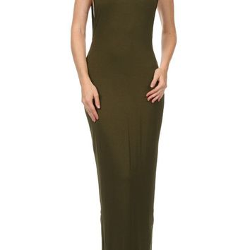 Solid Full Length Round Neck Cap Sleeve Side Exposed & Back Slit Open Maxi Dress