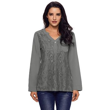 Gray Lace Panel Split Neck Roll Tab Sleeve Blouse