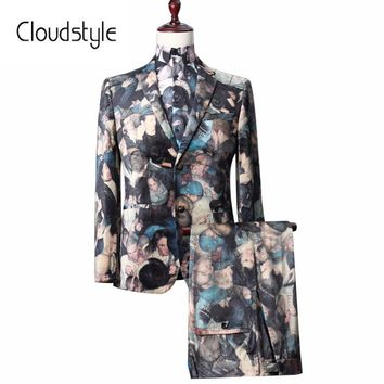 Men's 3d Packed Party Print Single Breasted Suit