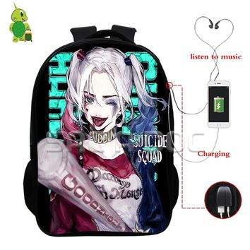 Suicide Squad Harley Quinn Joker Backpack USB Charge Headphone Jack Bags College Students Multifunction School Travel Bags