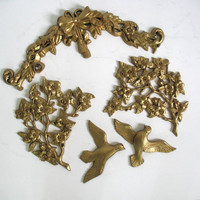 Vintage Pair Golden Birds with flowers Wall Hanging