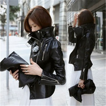 New PU Leather Motorcycle Stand Collar Jacket