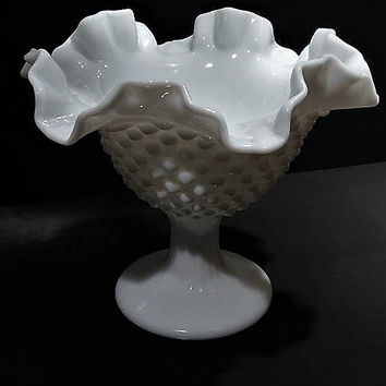 Milk Glass Wedding Decor Mid Century 1950s Vintage FENTON Glass White Milk Glass Compote Hobnail Wedding Table Decoration Nut Mint Dish