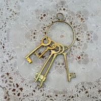 Large Vintage Brass Skeleton Keys on Ring Mid Century Decor
