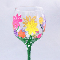 Glitter Multi-Colored Flower Wine Glass