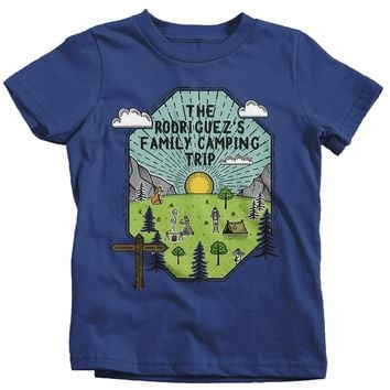 Kids Personalized Camping T Shirt Family Shirt Custom Graphic Tee Adventure Line Art Illustrated Shirts