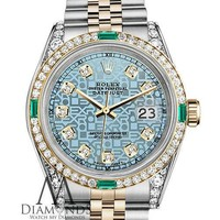 Ladies Rolex Steel & Gold 36mm Datejust Ice Blue Jubilee Dial Emerald & Diamond
