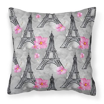 Watercolor Pink Flowers Eiffel Tower Fabric Decorative Pillow BB7503PW1818