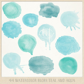 Watercolor clipart circles (44 pc) mint teal aqua blue turquoise. hand painted for logo design, blogs, making cards, printables wall art etc