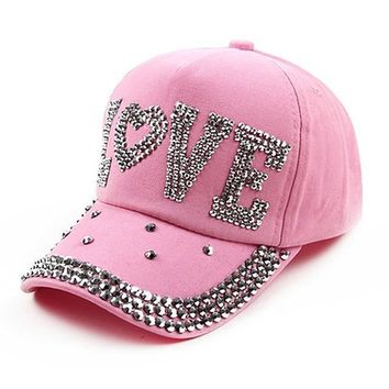 Accessories Rhinestone Crystal Baseball Cap Studded Adjustable Bling Tennis Hats