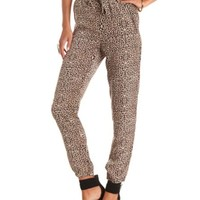 Zipper Pocket Leopard Print Jogger Pants