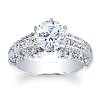 Ladies 18kt white gold pave round diamond and princess cut channel engagement ring with 2ct Round White Sapphire Ctr