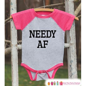 Funny Kids Shirt - Needy AF - Funny Onepiece or T-shirt - Humorous Baby Shower Gift Idea - Baby Girls Pink Raglan - New Baby Gift Idea