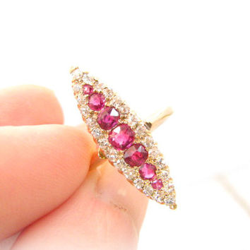 Antique Ruby Diamond Ring, Cushion Cut Rubies and Old Cut Diamonds, Striking Navette Design, Vibrant and Super Sparkly