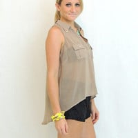 Spell On You Hi-Low Blouse in Mocha -  $38.00 | Daily Chic Tops | International Shipping