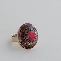 Adjustable OOAK pink ring, handmade gold plated brass with tiny pink balls, gold filigree and black hand painted adornments encased in resin