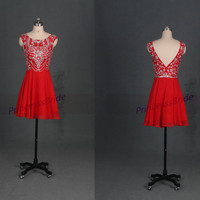 Latest red chiffon prom dresses with sequins,short chic women gowns for Christmas party,cheap homecoming dress on sale hot.