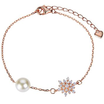 BELLA 925 Sterling Silver Snowflake Ivory Simulated Pearl Bridal Bracelet Silver/Gold/Rose Gold Tone Bracelet For Wedding