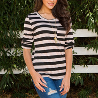Finley Stripe Top - Black