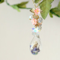 Water drop terrarium necklace, flower petals in water drop pendant, Swarovski crystal flower charm, pink, whimsical jewelry, gift under 25