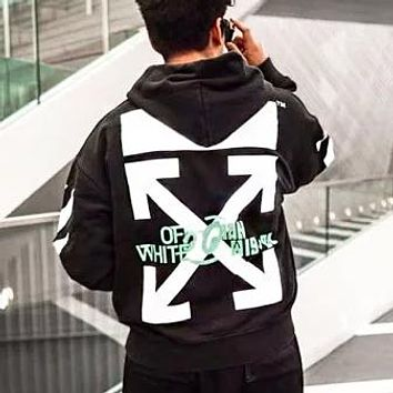 Off White Autumn And Winter New Fashion Water Painting Letter Arrow Print Women Men Hooded Long Sleeve Sweater Black