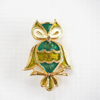 Vintage Lind-Gal Owl Brooch LG Gold Tone Enamel Owl Pin Green and Teal