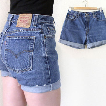 Vintage Levis 550 High Waisted Denim Cutoff Jean Shorts - 80s 90s Relaxed Fit Cuffed Faded Blue Women's Levis Shorts - Size 10