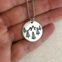 Rustic Mountain Forest Necklace, silver stamped pewter charm pendant nature mountain hiking camping climbing gift for her him