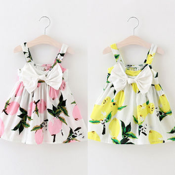 Summer Infant Baby Girls Floral Fruit Bow Dress Lemon Print Bowknot Sleeveless Clothes Baby Girl Dress 0-3Y