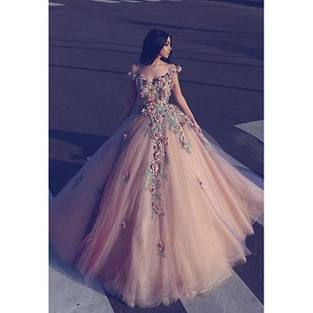 2017 New Design Long Evening Dress Charming 3D Flowers Appliques Nude Pink Garden Princess Prom Dresses Unique Formal Party Gown