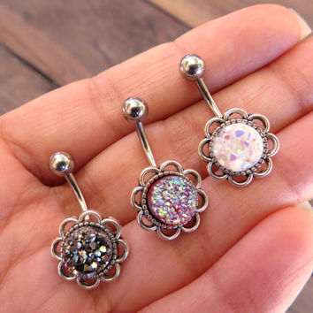 Belly Button Ring, Druzy Geode Stone Crystal Cluster Rock Flower Navel Piercing Glitter White Rainbow Red Garnet Gray Pyrite Bar Silver