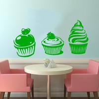 Cupcakes Cakes Wall Vinyl Decals Sticker Home Interior Decor for Any Room Housewares Mural Design Graphic Kitchen Cafe Wall Decal (5599)