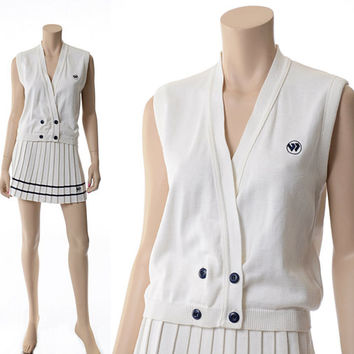 Vintage Wimbledon Tennis Outfit Two-Piece Vest Top and Pleated Mini Skirt Set 60s 70s White Knit Preppy Hamptons Racquet Club Set size XS-S
