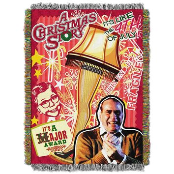 "A Christmas Story, Retro Lamp Woven Tapestry Throw Blanket, 48"" x 60"""