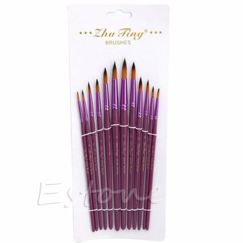 New Hot 12Pcs Set Artist Nylon Hair Brush Tip Pointed Head Paint Watercolor Gouache -Y102