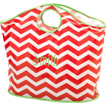 Christmas Shopping Tote Bag Red Chevron Monogrammed Personalized