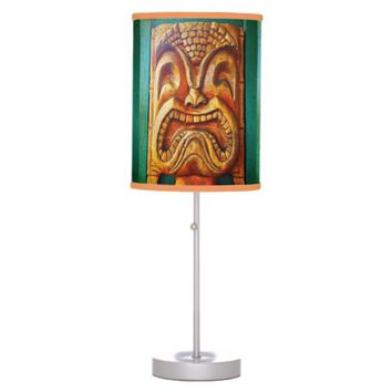 Fun, fierce, vintage retro wood tiki face photo desk lamp