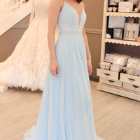 Gorgeous Straps Light Sky Blue Long Prom Dress